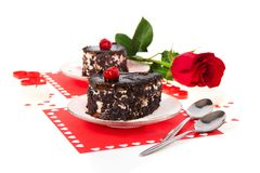 Chocolate cakes and red rose in Valentine's day Royalty Free Stock Photography