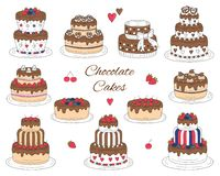 Chocolate cakes set, vector hand drawn, colorful doodle illustration. Stock Image