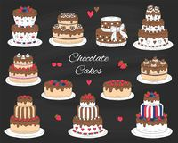 Chocolate cakes set, vector hand drawn, colorful doodle illustration. Stock Photography