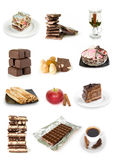 Chocolate cakes and sweets collection Royalty Free Stock Image