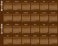 Chocolate calendar. Template of a calendar for 2012 and 2013. A template of chocolate color Royalty Free Stock Image