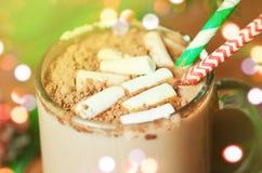 Chocolate caliente con el marsmallow Fotografía de archivo