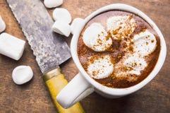 Chocolate caliente con la melcocha Imágenes de archivo libres de regalías