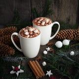 Chocolate caliente con las especias de las melcochas en el viejo fondo de madera Café, cacao, canela, anís de estrella, acogedor  Fotografía de archivo libre de regalías