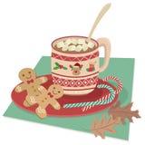 Chocolate caliente con las melcochas aisladas stock de ilustración
