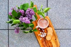 Chocolate caliente con las melcochas y las galletas de mantequilla selladas hechas en casa al lado de la lila Imagenes de archivo