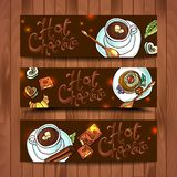 Chocolate caliente de las banderas hermosas Fotografía de archivo libre de regalías