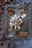 Chocolate caliente delicioso de la Navidad con las melcochas, las nueces y el canela en la bandeja de plata, visión superior Foto de archivo libre de regalías