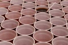 Chocolate caliente en una taza plástica imagen de archivo libre de regalías