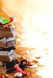 Chocolate caliente y cacao Foto de archivo libre de regalías