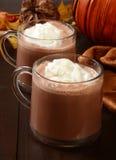 Chocolate caliente y crema azotada Fotografía de archivo