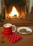 Chocolate caliente y galletas Imagenes de archivo
