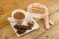 Chocolate caliente y galletas Fotografía de archivo libre de regalías