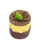 Chocolate candie from collection with pistachios and gold powder Stock Photos