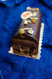 Chocolate and candied fruit Yule log Stock Photography