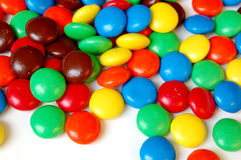 Chocolate Candies. In a pile on white background Royalty Free Stock Photo