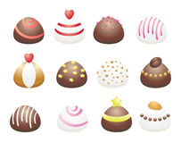 Chocolate candies. Milk and white chocolate Stock Images