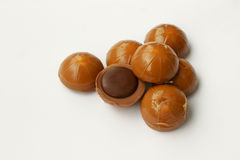 Chocolate candies. On white background Stock Photos