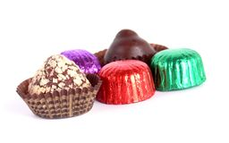 Chocolate candies. Wrapped in foil Royalty Free Stock Photography