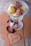 Chocolate candies assortment in glass bowl on Royalty Free Stock Photo