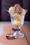 Chocolate candies assortment in glass bowl on Stock Photo