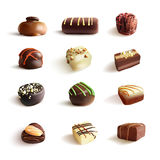 Chocolate Candies Big Set. Vector Realistic Illustration.  On White Stock Image