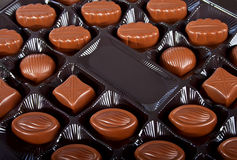Chocolate candies in box. royalty free stock photography