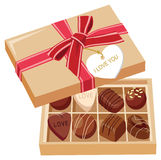 Chocolate candies in box. Chocolate candies and gift box with bow. vector illustration Stock Photos
