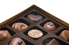 Chocolate Candies Box. Sorted chocolate candies box isolated over white royalty free stock photography