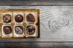 Chocolate candies box Stock Photos