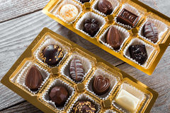 Chocolate candies box Stock Images