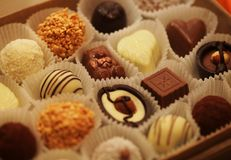 Chocolate candies in a box Royalty Free Stock Images