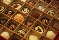 Chocolate candies in a box Royalty Free Stock Photo