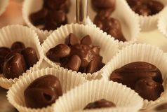 Chocolate candies in a box Royalty Free Stock Image