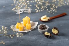 Dark Chocolate candies with cheese and parmisan on the background royalty free stock photo