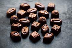 Chocolate candies - Chocolate candies collection. Beautiful Belgian truffles box macro Stock Photo