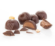 Chocolate candies close-up on a white background. Stock Photography