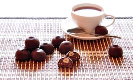 Chocolate candies and coffee Royalty Free Stock Images