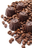 Chocolate candies with coffee beans Royalty Free Stock Photography