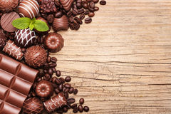 Chocolate candies. Collection of beautiful Belgian truffles Royalty Free Stock Images