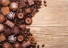 Chocolate candies. Collection of beautiful Belgian truffles Stock Image