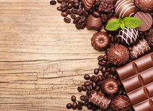 Chocolate candies. Collection of beautiful Belgian truffles Stock Images