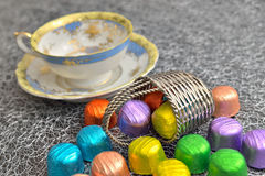 Chocolate candies in colorful aluminum foil Stock Photo