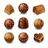 Chocolate candies and comfits sweets vector 3D realistic icons collection. Chocolate candies realistic 3D vector icons. Set of chocolate candy in heart, bar and Stock Image