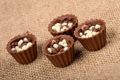 Chocolate candies with crumbs Stock Image
