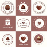 Chocolate Candies and Desserts Labels Stock Image