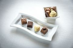 Chocolate candies of different shapes Royalty Free Stock Photo