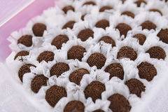 Chocolate candies. Chocolate handmade candies in the box Royalty Free Stock Image