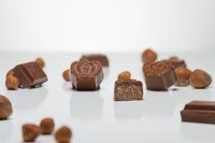 Chocolate candies with hazelnut inside Stock Photos