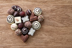 Chocolate candies heart stock images